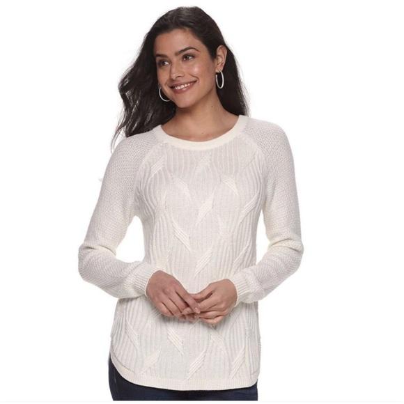 SONOMA Kohl's Sweater Cable Knit Tunic Crewneck M